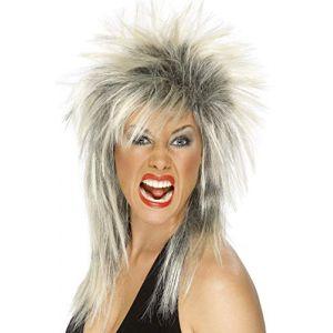Smiffy's Perruque diva du rock, deux couleurs, blonde & noire, nuque longue Taille Unique