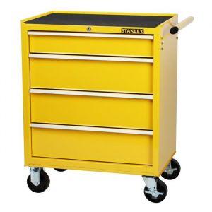 Stanley Servante d'atelier vide 4 tiroirs métal - 1 tiroir : 58 x 39 x 8 cm / 3 tiroirs : 58 x 39 x 14 cm - Capacité totale : 242 kg - Plan de travail renforcé