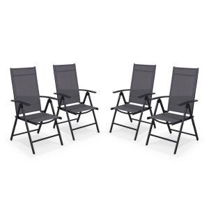 Alice's Garden Ensemble de 4 fauteuils multi-positions en aluminium et textilène