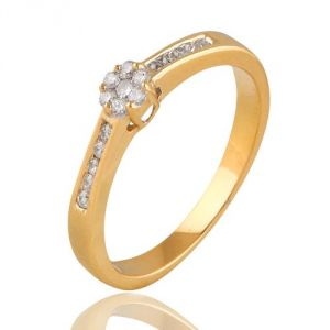 CaraShop 3663644008886 - Bague diamants entourage diamants en or jaune