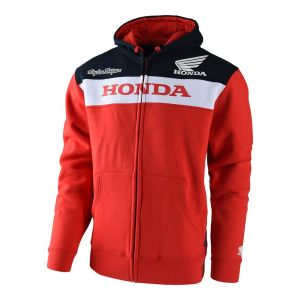 Troy Lee Designs Sweat à Capuche Zippé Team Honda Wing Ziphood Rouge - Homme - Taille S