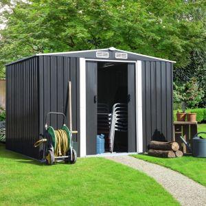 Idmarket Abri de Jardin 5.3 m² Gris en Acier galvanisé avec Base