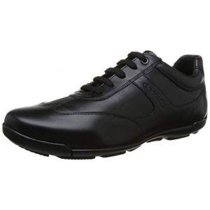 Geox EDGWARE U843BC Homme Baskets Mode,Faible,Gars Sneaker d'affaires,Chaussure Basse,Chaussure de Ville,Chaussure Sportive et Décontractée,Noir,43 EU