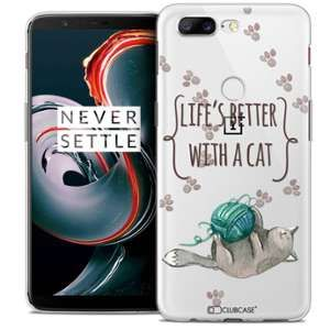 CaseInk Coque OnePlus 5T (6 ) Extra Fine Quote Life's Better With a Cat