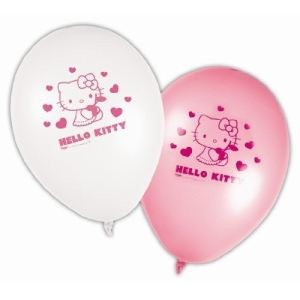 8 ballons en latex Hello Kitty