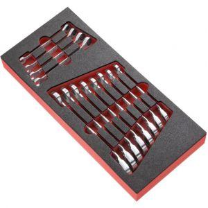 Facom 467R - Module de 12 clés mixtes à fourche à cliquet métriques en plateau mousse MODM.467RJ12