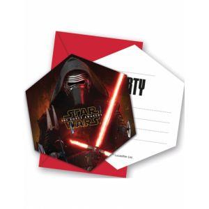 6 cartes d'invitation avec enveloppes Star Wars VII