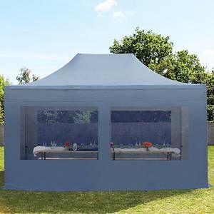 Intent24 Tente pliante / pliable PREMIUM 3x4,5 m avec fenêtres panoramiques en Polyester de qualité gris fonce.FR