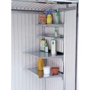 Biohort Lot de 4 étagères en acier galvanisé profondeur 21 cm pour abris de jardin Europa, AvantGarde et pour armoire à outils
