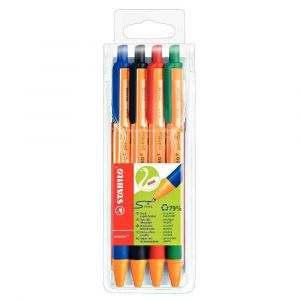 Stabilo Pointball - Pochette de 4 stylo billes 1 vert + 1 rouge + 1 bleu + 1 noir