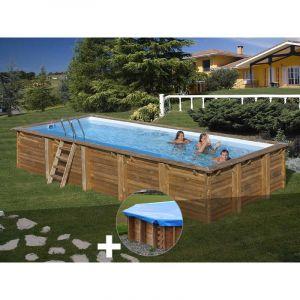 Sunbay Kit piscine bois Braga 8,00 x 4,00 x 1,46 m + Bâche hiver