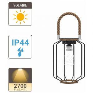 Xanlite Lanterne Solaire IP44 Blanc chaud Métal et corde 6h d'autonomie - SORETRO4