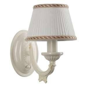 MW-Light Applique remarquable de style classique avec armature en métal couleur blanche et plafonnier en forme de abat-jour en tissu couleur blanche, pour salon ou chambre 1 ampoule non-incl. E14 1x60W 230V