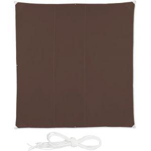 Relaxdays Voile d'ombrage carré diffuseur d'ombre protection soleil balcon jardin UV lxP 4x4 m toile imperméable, brun