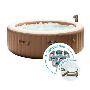 Intex Spa gonflable PureSpa Bulles 6 personnes + 12 cartouches + Kit d'entretien