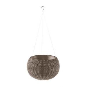 Curver Pot de fleur aspect tricot avec suspensions 36cm - Chocolat