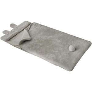 Atmosphera Sac de couchage doux Lapin Gris avec pompon 70 x 155 cm