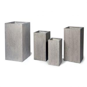 Grand pot carré haut LIA S/4 gris beige 128 L