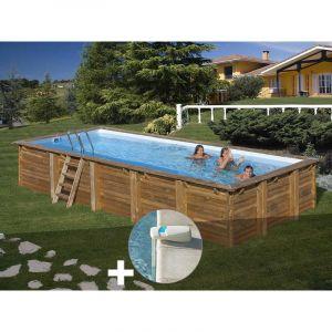 Sunbay Kit piscine bois Braga 8,00 x 4,00 x 1,46 m + Alarme