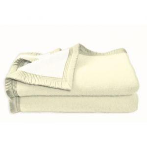 Poyet motte Couverture Aubisque en laine woolmark naturelle 220x240 cm blanche