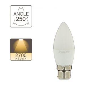 Xanlite Ampoule LED flamme, culot B22, 5,3W cons. (40W eq.), lumière blanc chaud
