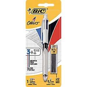 Bic 4 Couleurs 3+1 HB Stylo-Bille et Porte-Mines - Blister de 1 + 12 Mines 0.7mm HB