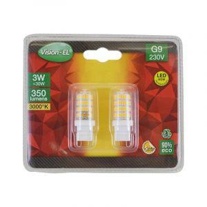 Vision-El LOT de 2 ampoules 3W LED (éq 30W) Culot G9 - 3000°K - 350 lumens - Angle 270° - V