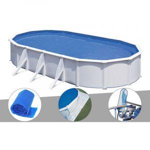 Gre Kit piscine acier blanc Fidji ovale 6,34 x 3,99 x 1,22 m + Bâche à bulles + Tapis de sol + Kit d'entretien