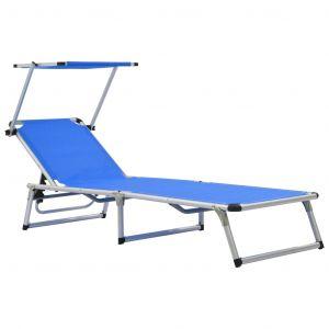 VidaXL Chaise longue pliable Bleu Aluminium et textilène