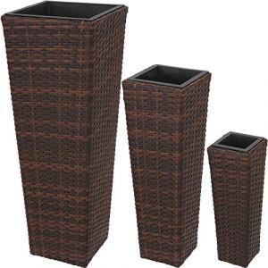 TecTake Lot de 3 Pots de Fleurs en résine tressée | Facile à Nettoyer et Hydrofuge | INCL. 3 Pots intérieurs Amovibles es Couleurs au Choix - (Mixed-Marron | No. 402901)
