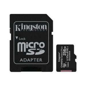Kingston Canvas Select Plus - Carte mémoire flash (adaptateur microSDXC vers SD inclus(e)) - 256 Go - A1 / Video Class V30 / UHS Class 3 / Class10 - microSDXC UHS-I