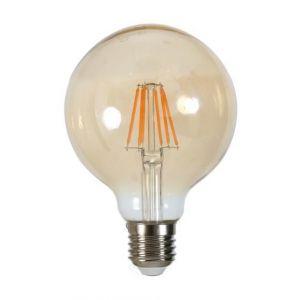 Ampoule LED filament vintage ambrée E27 6 W équivalent a 60 W blanc chaud - Culot E27 - Puissance : 6 W - Equivalence : 60 W - Flux lumineux : 540 lumens - Température : 2700°K.