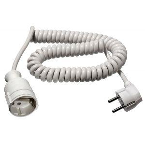 as-Schwabe 70412 Rallonge électrique spirale Câble blanc 4m H05VV-F 3G1,5 Intérieur / IP20