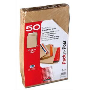 Gpv 50 pochettes kraft 3 x 22,9 x 32,4 cm (120 g)
