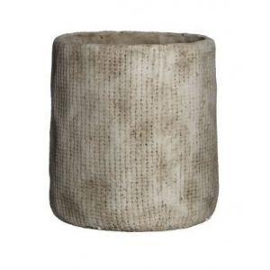 MICA Lot de 2 Cache-pots ronds Kyan - Beige - Hauteur: 20cm - Diamètre: 19cm