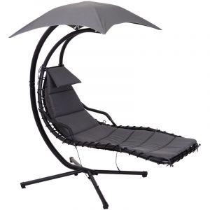 Outsunny Bain de soleil transat suspendu avec pare-soleil et matelas design contemporain 194L x 117l x 192H cm acier polyester gris foncé noir