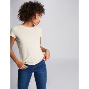 Morgan T-shirt manches courtes dos en V perles beige femme