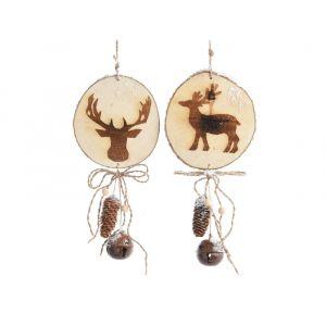 Décoris Brut - 2 suspensions en bois animaux assortis et cloche en fer (44 x 20 x 6 cm)