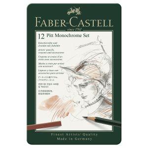 Faber-Castell Set PITT Monochrome pro - Sélection parmi l'ensemble de la gamme PITT Monochrome, idéal pour le dessinateur ou le graphiste : - Set PITT Monochrome, petit (12pcs.): 1x Castell 9000, 1x Pitt Graphite Pure, 2x Pitt Oil-Base, 2x crayons Pitt pa