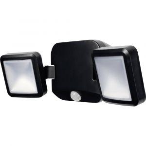 Osram Projecteur Extérieur LED à piles - 480lm - 2 têtes orientables - Etanche IP54 - Détecteur de Mouvement - 4 x piles D incluses - Noir