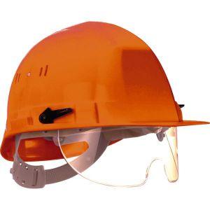 Taliaplast 564515 - Casque de chantier avec lunette escamotable orange