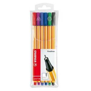 Stabilo 6 stylos feutre point 88 pointe fine assortis (0,4 mm)