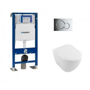 Geberit Pack UP320 + Cuvette VILLEROY ET BOCH Subway 2.0 + plaque Sigma Chromé Brillant
