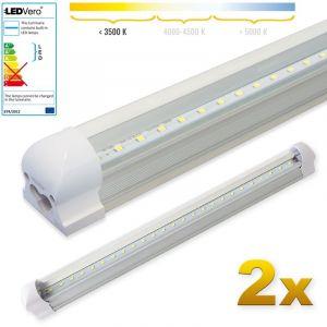 Image de Ledvero 2x LED SMD réglettes lumineuses LED en blanc chaud, T8 G13 couvercle transparent - 60 cm, 8W, 800lm- prêt pour l'installation
