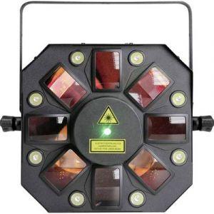 Cameo STORM EFFET LUMINEUX 3 EN 1 (DERBY, STROBOSCOPE ET LASER), 5 X 3 W RGBAW