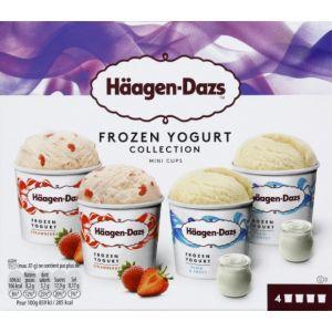 Häagen dazs Coffret de 4 Minicups Crème Glacée Froyo Plain/Strawberry 4 x 95 ml