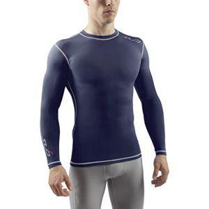 Sub Sports DUAL T-shirt de Compression Manches Longues Homme - Bleu marine - XL
