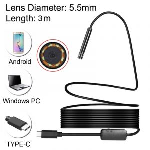 WeWoo Endoscope numérique USB-C / Type-C imperméable serpent caméra d inspection de tube avec 8 LED et adaptateur USB, longueur: 3m, diamètre de l objectif: 5,5 mm