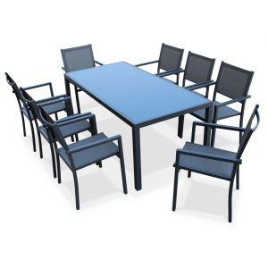Alice's Garden Capua 180 - Ensemble table de jardin et 8 fauteuils en aluminium et textilène