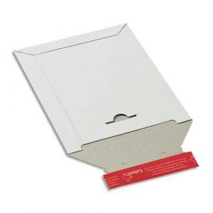 ColomPac Pochette d'expédition en carton blanc A4+, format 24,5 x 34,5 cm, hauteur jusque 3 cm - Lot de 100